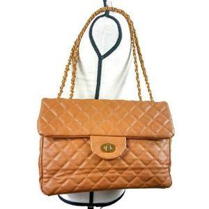 Tan Quilted Handbag Goldtone  link straps
